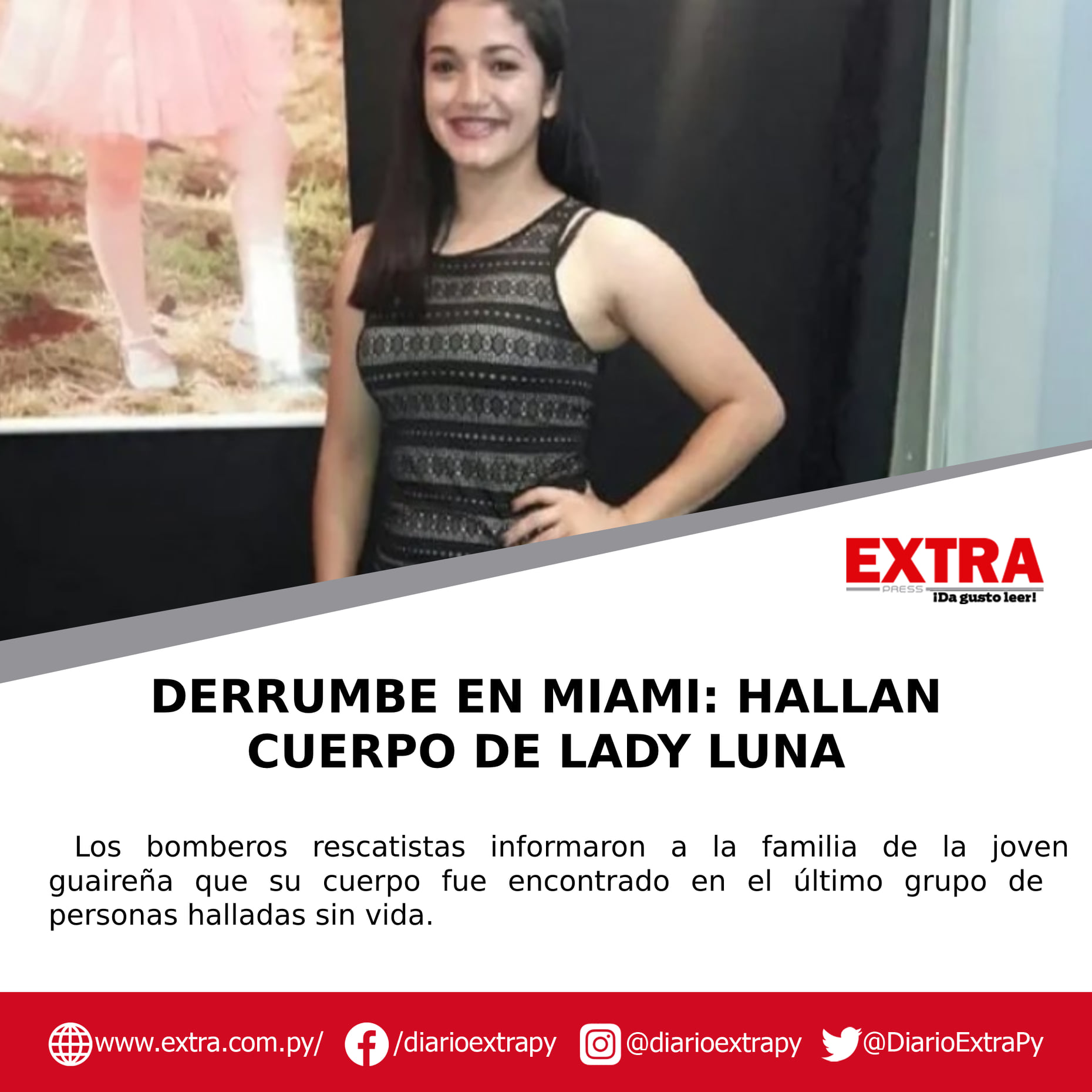 Encontraron el cuerpo de la compatriota Leidy Luna entre los escombros del edificio derrumbado en Miami.