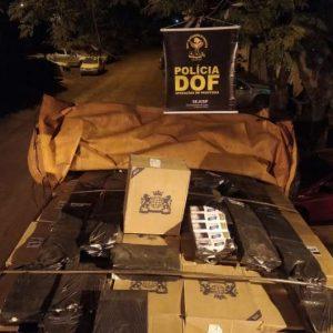 Caminhão carregado com cigarros contrabandeados é abordado em estrada vicinal