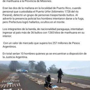 CAE PARAGUAYOS CON MARIHUANA EN ARGENTINA