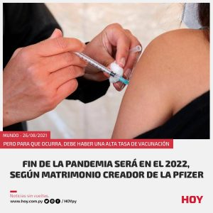 Matrimonio creador de la Pfizer puso fecha de fin a la pandemia