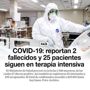 COVID-19: reportan 2 fallecidos y 25 pacientes siguen en terapia intensiva