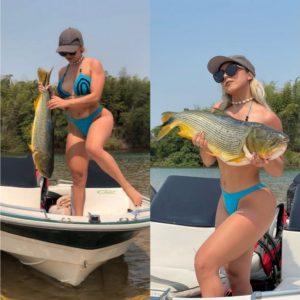 ¡QUÉ EJEMPLAR! La pescadora sexy agarró un tremendo dorado