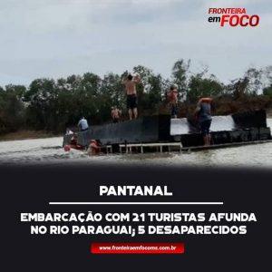 Um barco-hotel naufragou na tarde desta sexta-feira (15) no rio Paraguai.
