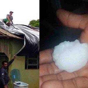 Amambai.Queda de granizo do tamanho de bola de ping pong destrói telhados e vidro de carros